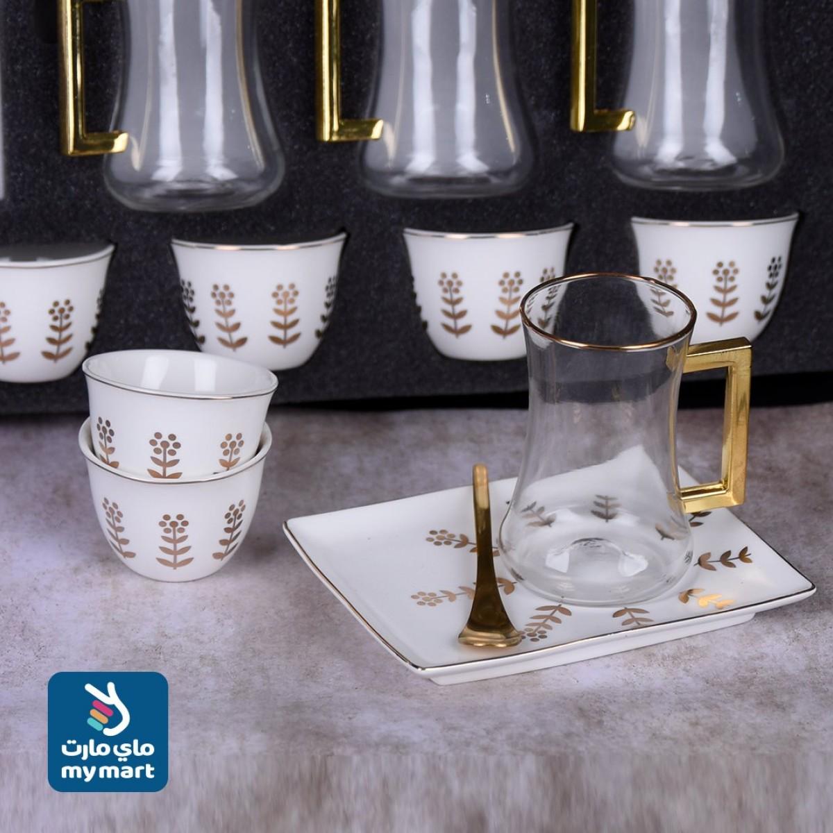طقم فناجين قهوة وبيالات شاي مع الصحون - 24 قطعة