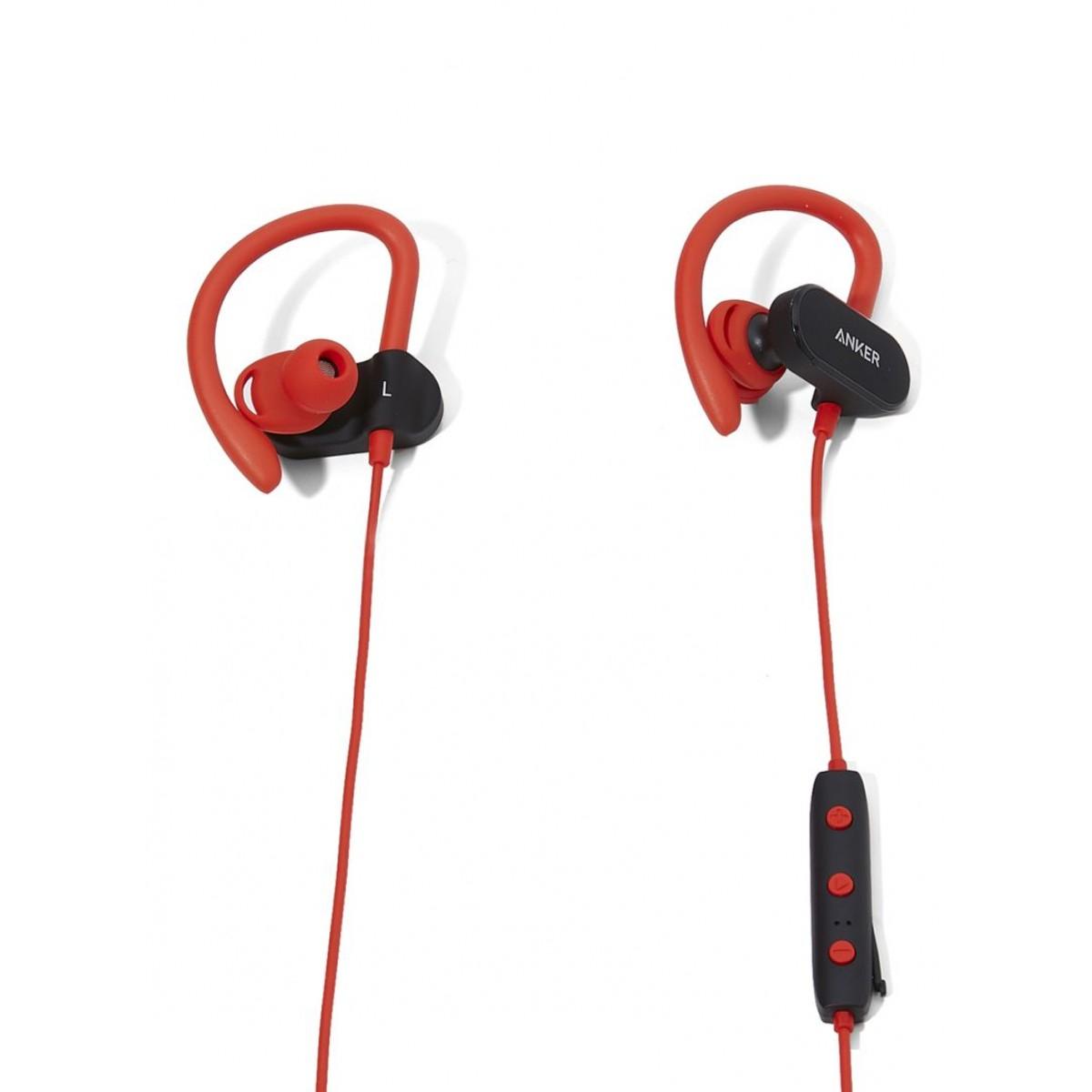 سماعة الأذن اللاسلكية ساوند بادز مقوسة الشكل المزودة بميكروفون أسود/أحمر