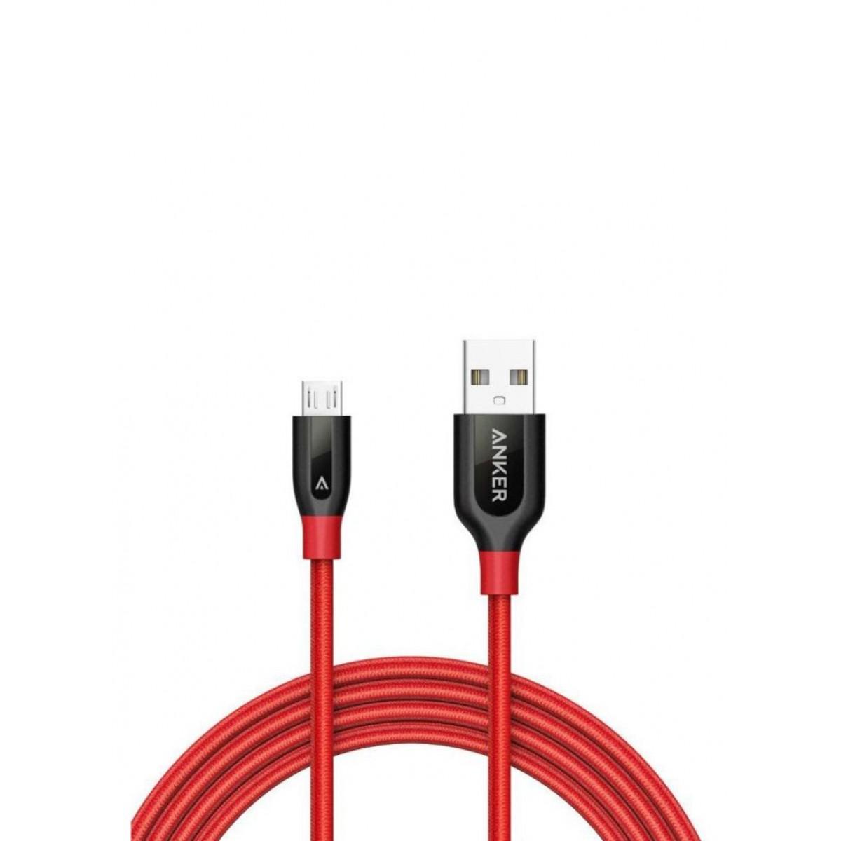 كابل باور لاين بمنفذ Micro USB للشحن ومزامنة البيانات أحمر وأسود 6 قدم