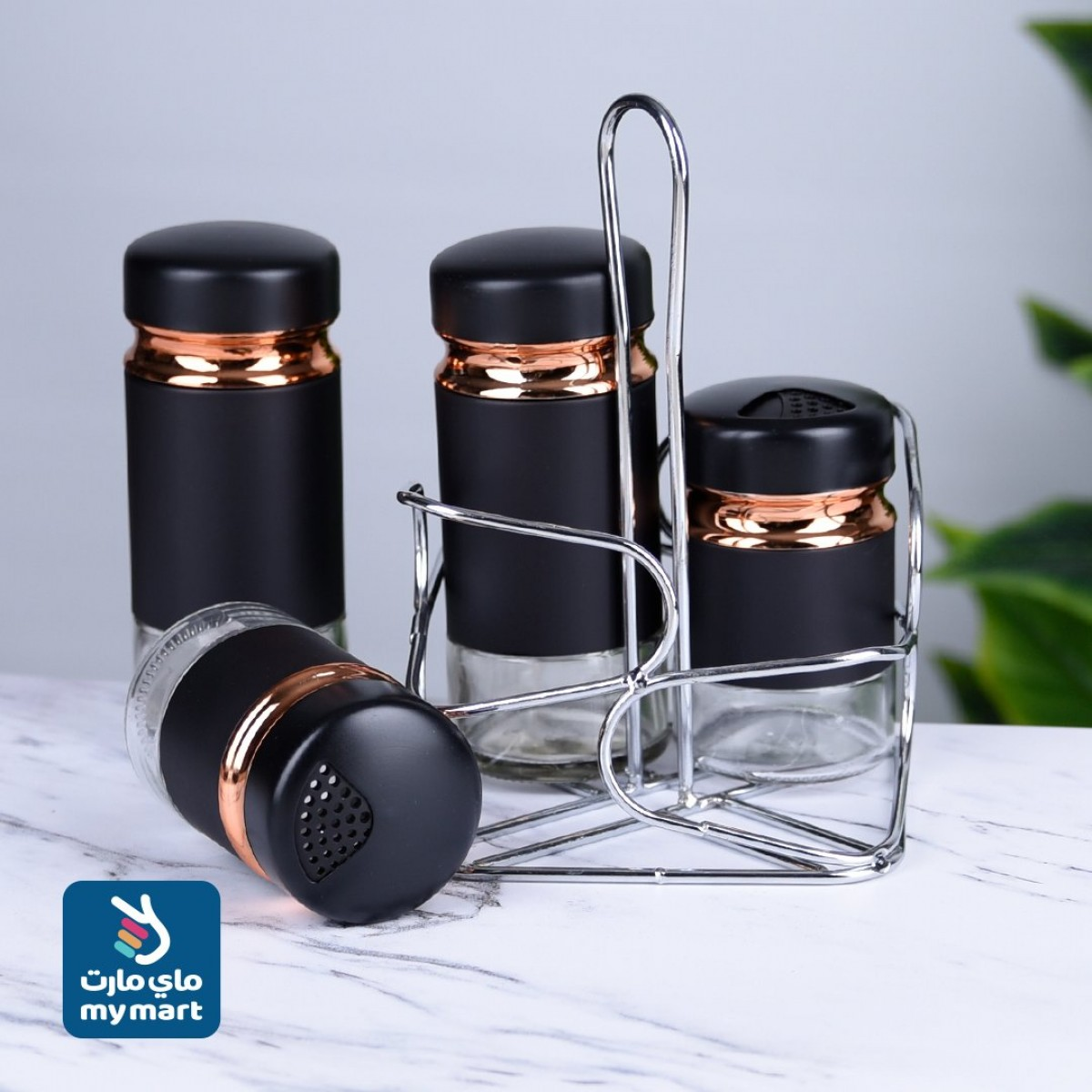 طقم علب بهارات وتوابل - 4 قطع مع استاند