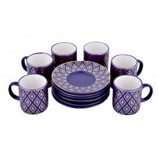 طقم فناجين قهوة  تركي مع الصحون , 12 قطعة مع نقش ذهبي