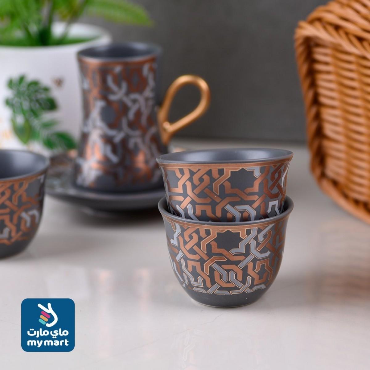 طقم فناجين قهوة وبيالات شاي مع الصحون - 18 قطعة 510017