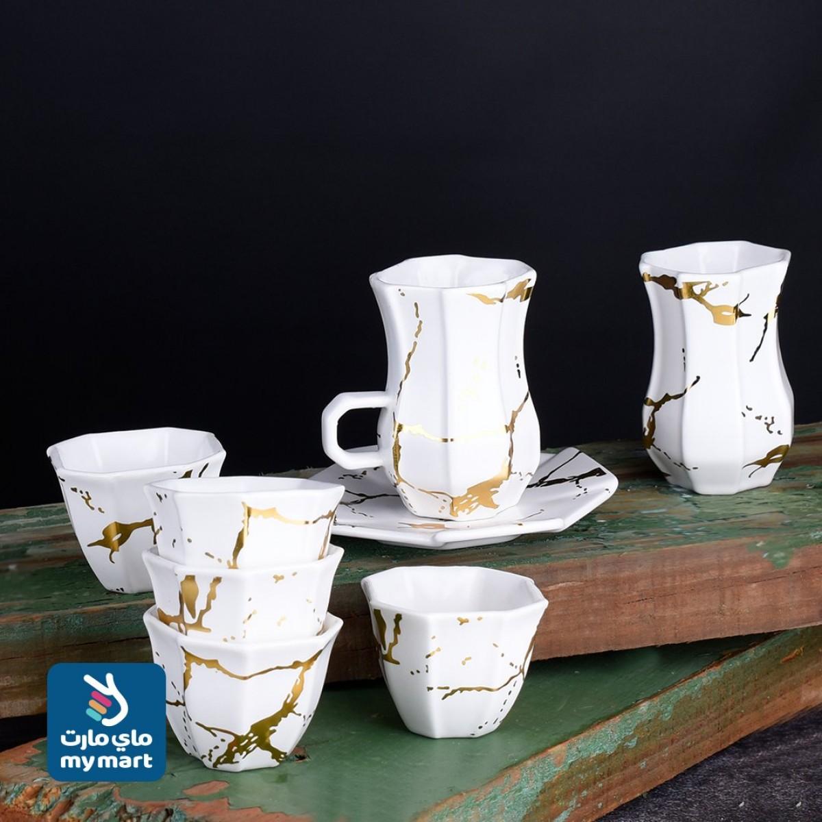 طقم فناجين قهوة وبيالات شاي مع الصحون - 36 قطعة 020314