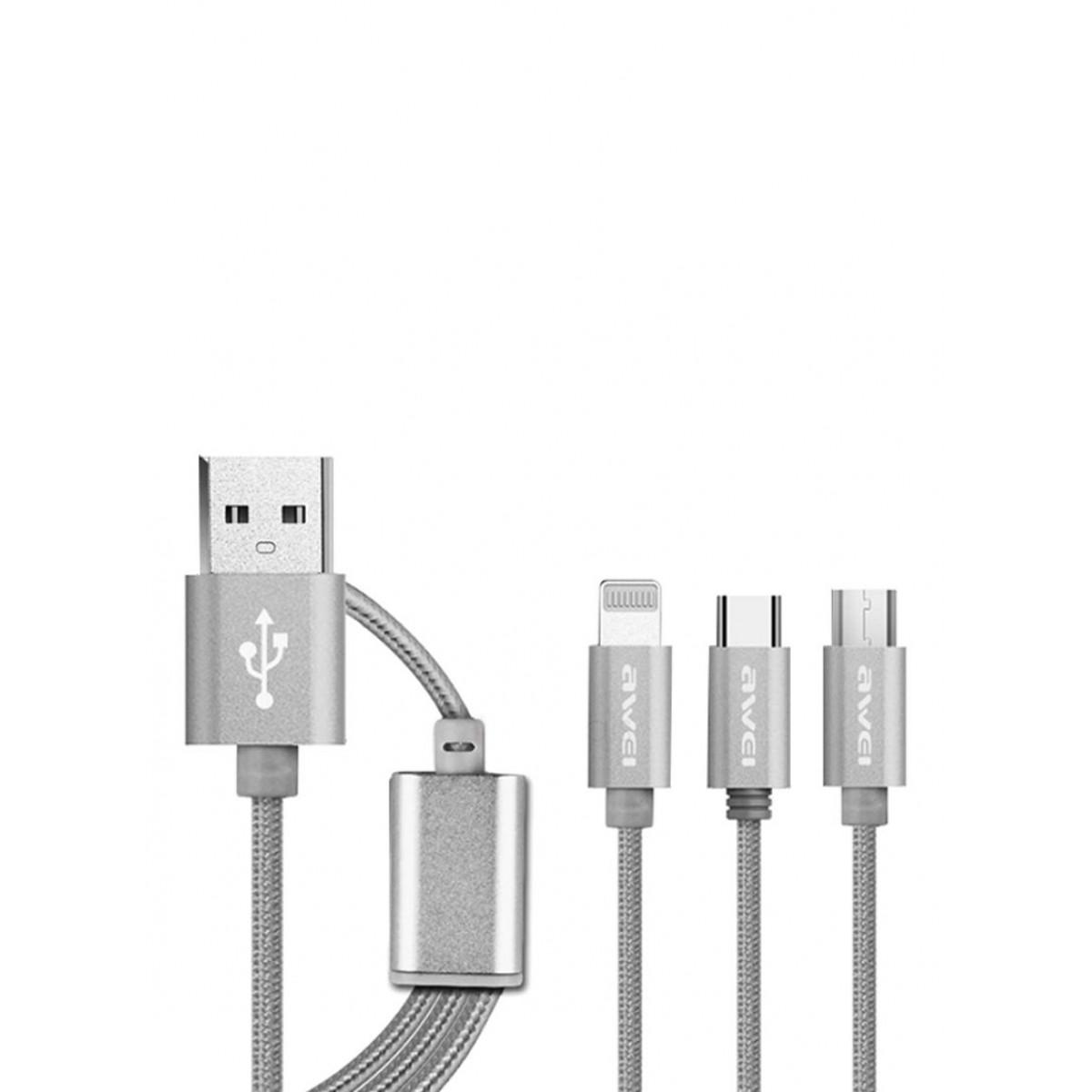 أوي كابل 3 في 1 Type-C/Micro USB/لايتينج رمادي 1.2 متر