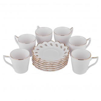 طقم فناجين قهوة مع صحون لون ابيض ,سيراميك , 12 قطعة