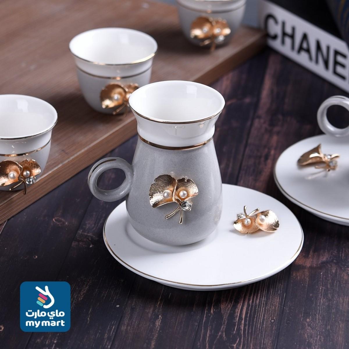 طقم 36 قطعة فناجين قهوة وبيالات شاي مع الصحون , 410014