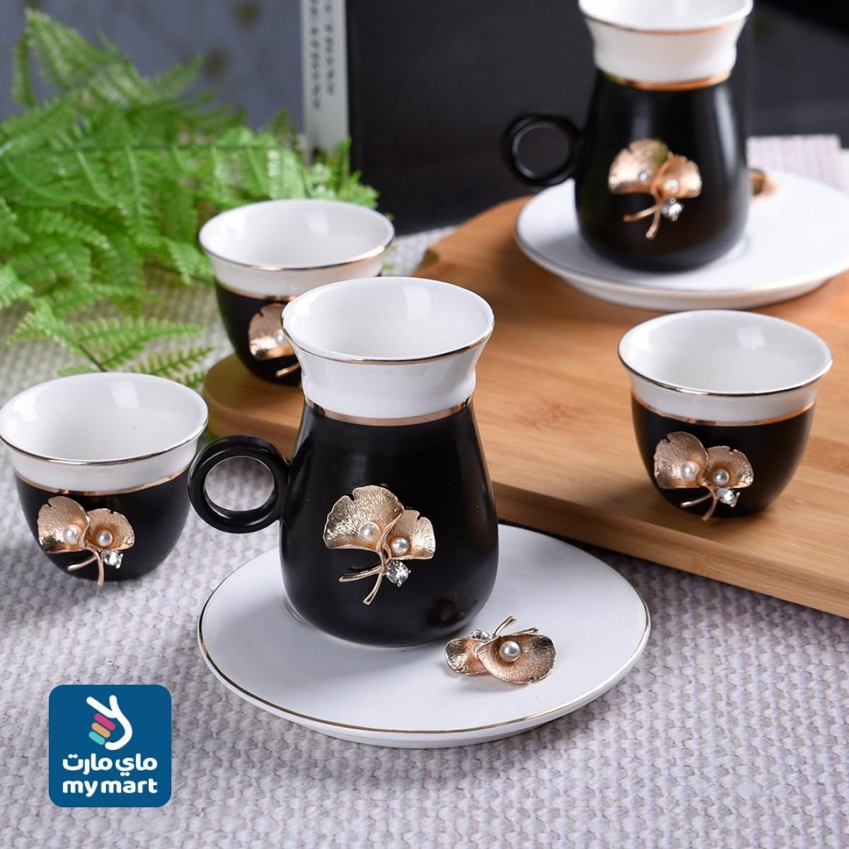 طقم 18 قطعة فناجين قهوة وبيالات شاي مع الصحون , 410007