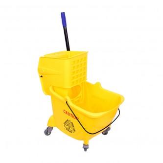 عربية نظافة ارضيات بعجلات مع مكبس جانبي , لون اصفر , موديل YM-8079