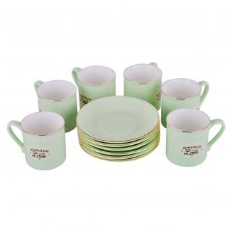 طقم اكواب قهوة ملونة مع الصحون  , 12 قطعة