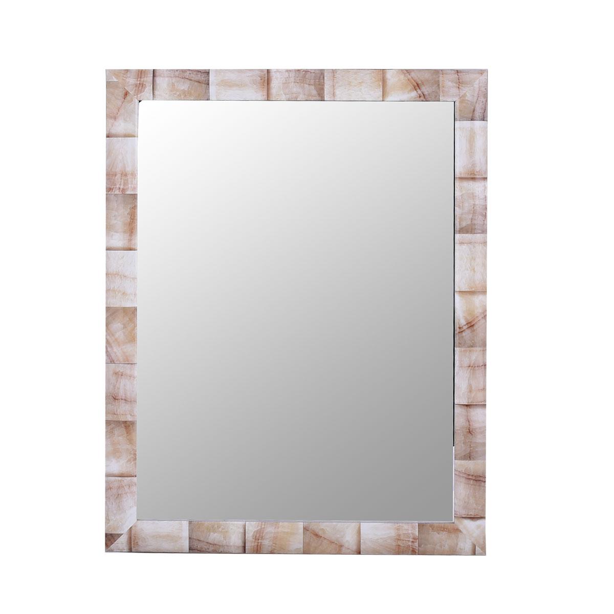مرآة حائط مستطيلة الشكل , بأطار بلاستيك رخامي SH18092