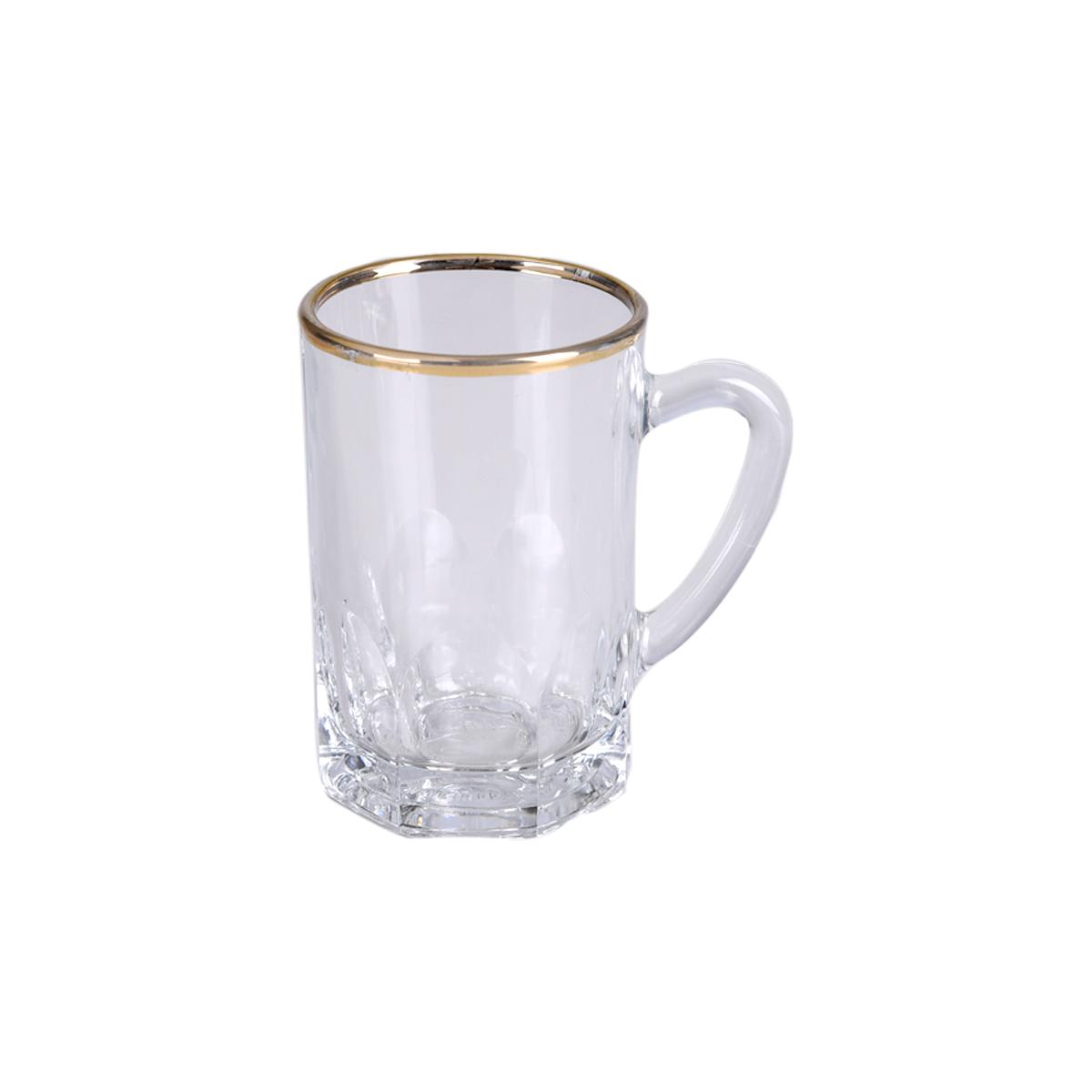 طقم بيالة شاي  -  6 قطعة  زجاج محدد بخطوط ذهبية ,, السيف