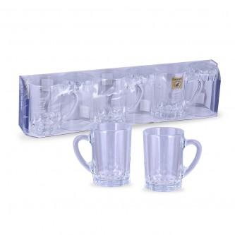 طقم بيالة شاي  -  6 قطعة  زجاج  ساده  ,, بادريق