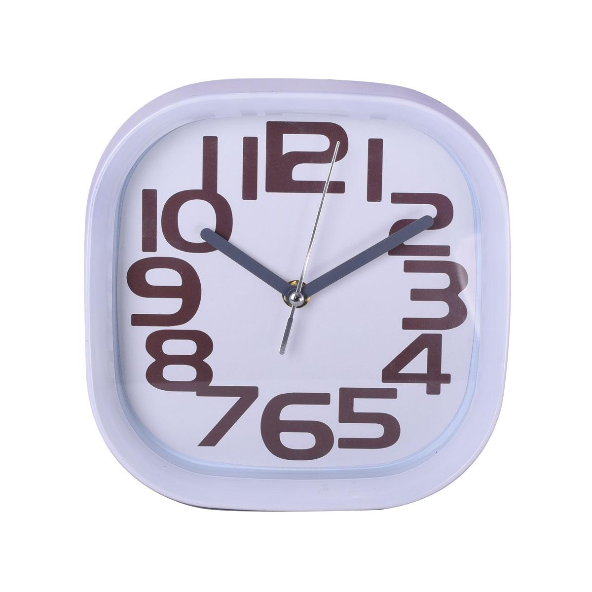 ساعة حائط شكل مربع لون ابيض