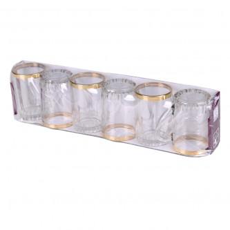 طقم بيالة شاي ,6 قطعة  زجاج  محدد بخطوط ذهبية ,السيف