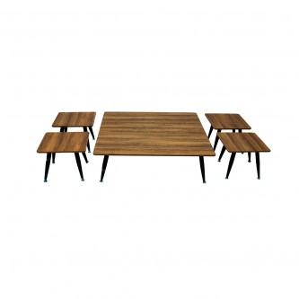 طاولة تقديم وخدمة خشب مربع طقم 5 قطعة موديل 616-100