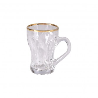 طقم بيالة شاي 6قطعة زجاج C21 بحافة ذهبي