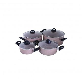طقم قدور طبخ المنيوم مغطاة بالجيرانيت, 8 قطعة رقم -KR34-GL-11