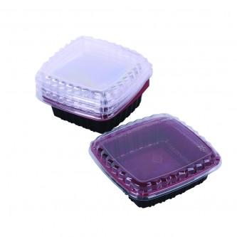 وعاء بلاستيك 650مل اسود *احمر غطاءشفاف 10حبه 0106772