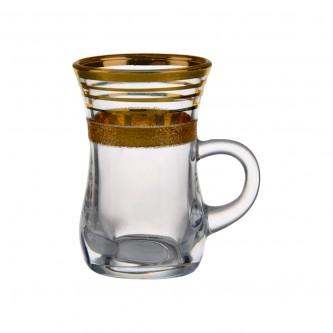 كاسات شاي ، كريستال ، 6 حبات بخطوط ذهبي