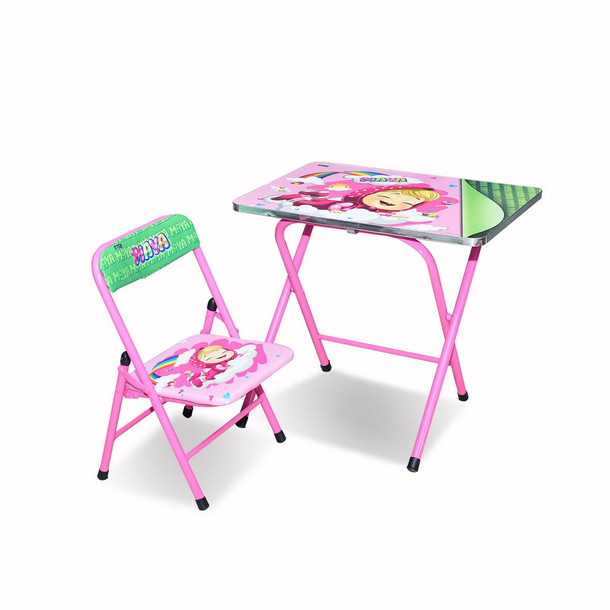 طاولة اطفال مدرسية  خشب بقواعد من الحديد + كرسي  4038-049
