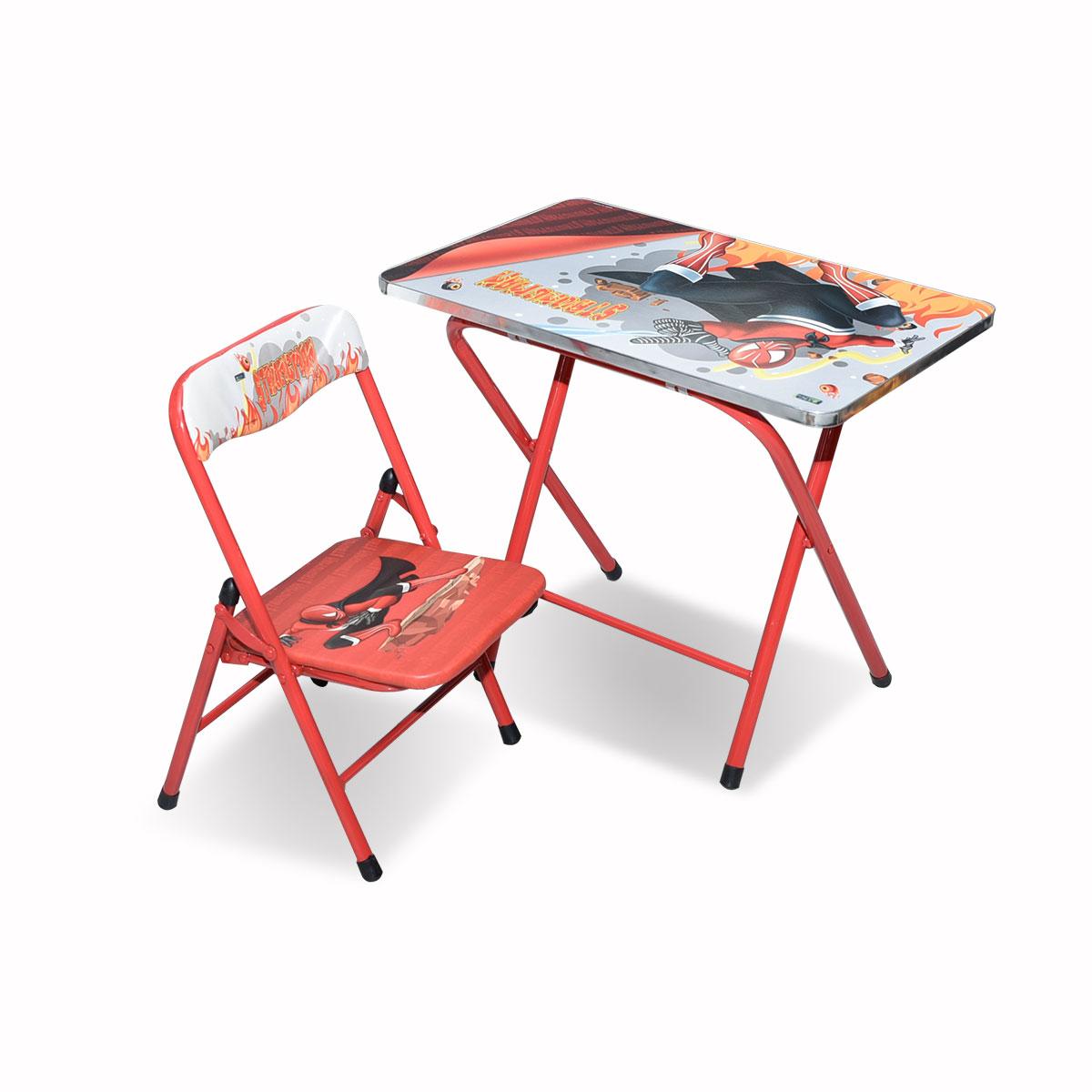 طاولة اطفال مدرسية  خشب بقواعد من الحديد + كرسي  4037-039