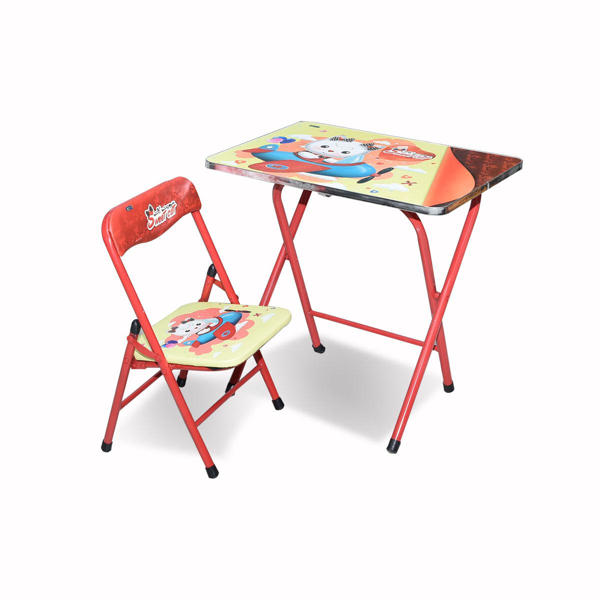طاولة اطفال مدرسية  خشب بقواعد من الحديد + كرسي