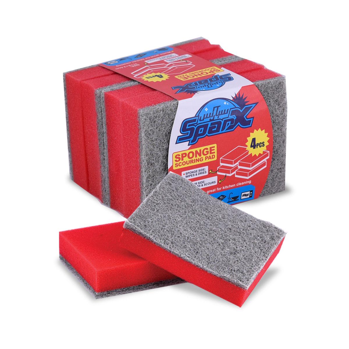 اسفنج تنظيف خشن - SPARX - ربطة 4 قطعة  - رقم YM-19540