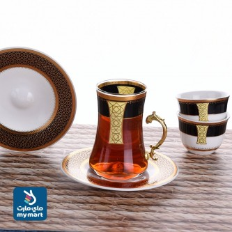طقم فناجين قهوة وبيالات شاي مع الصحون - 18 قطعة  YS-1931-9