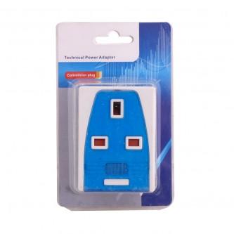 فيش كهرباء جداري محمول ثلاثي ازرق