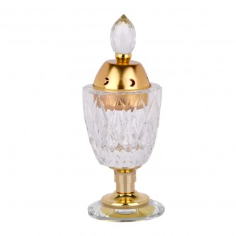 مبخرة كريستال شفاف منقوشة مع غطاء ذهبي وقاعدة ذهبية من ماي مارت