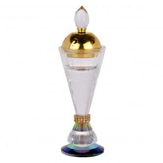 مبخرة كريستال شفاف دائرية مع غطاء ذهبي او فضي وقاعدة ملونة