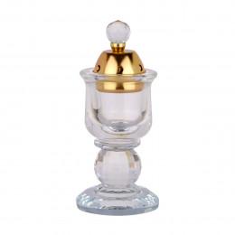 مبخرة كريستال شفاف دائري مع غطاء ذهبي او فضي وقاعدة شفافة