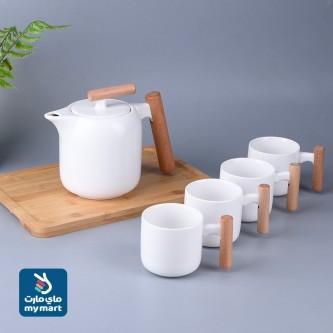 طقم فناجين قهوة سيراميك مع طفريه وابريق 6  قطعة رقم YM-21602