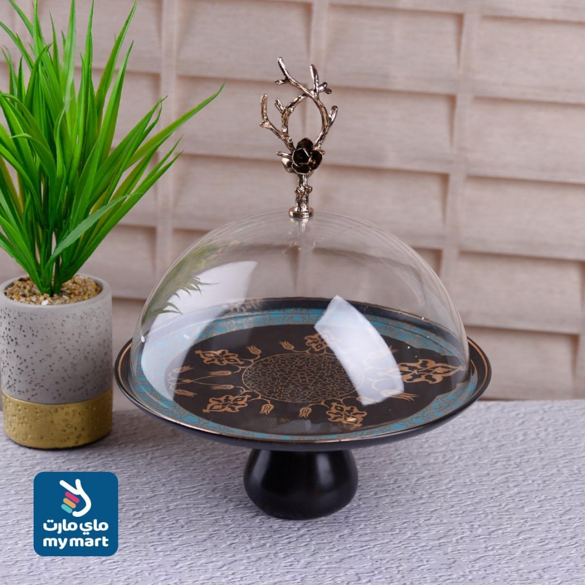صحن كيك وحلويات بورسلان مع غطاء شفاف , رقم YM-21569