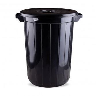 سلة نفايات بلاستيك - زبالة 80 لتر اسود التقنية رقم 3068