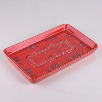 صحن تقديم  سراميك احمر منقوش موديل 1001181