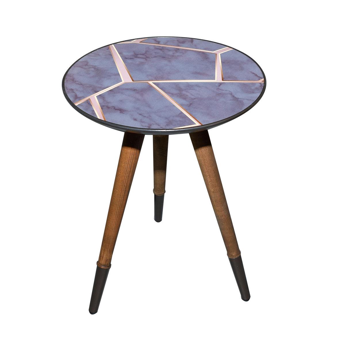 طاولة تقديم وخدمة خشب دائرية - تركي منقوش متعدد الوان