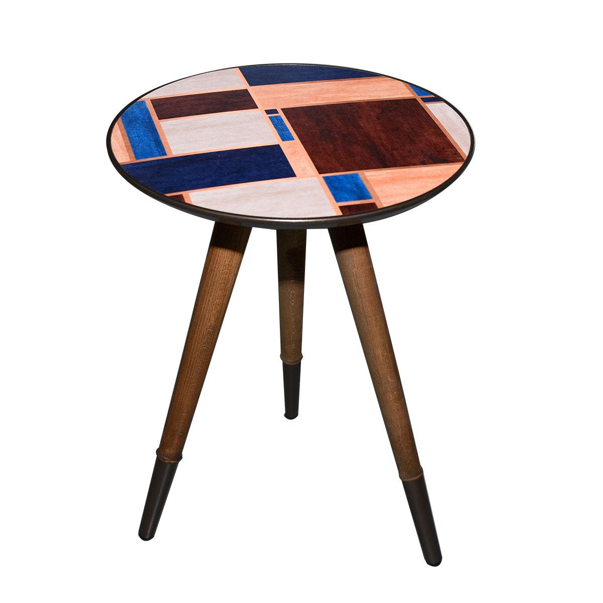 طاولة تقديم وخدمة خشب دائرية - تركي برسم متعدد الوان