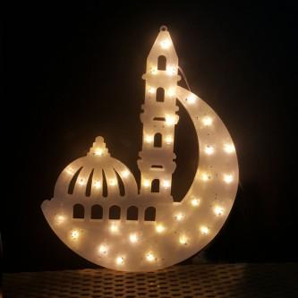 لمبه زينه رمضانية شكل مسجد كبير ابيض AD-1-604