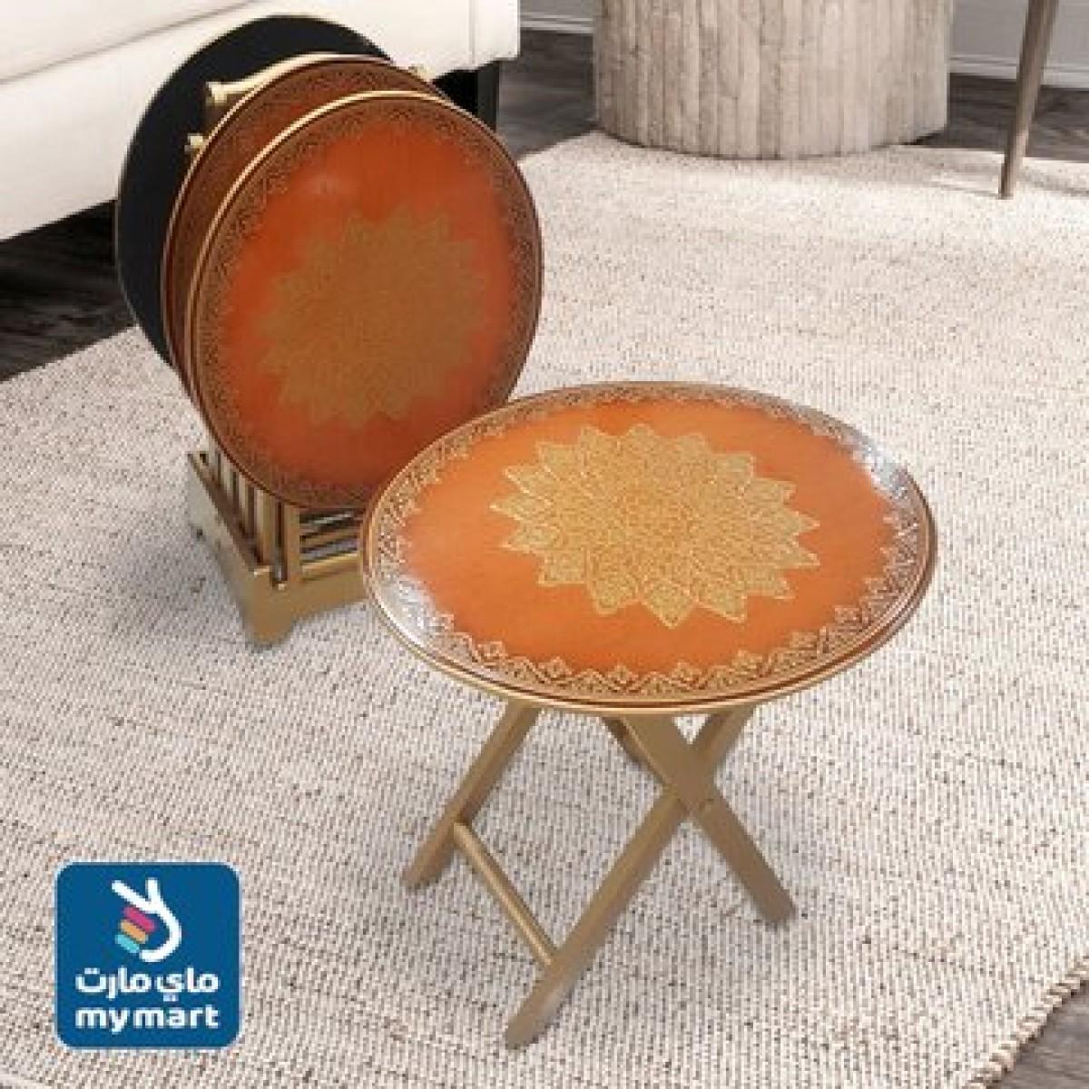 طاولة تقديم وخدمة خشب 4 قطعة  مدور مع استاند