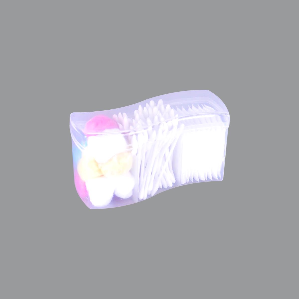 اعواد قطن للاذن بلاستيك +قطن مربعات علبة 3*1