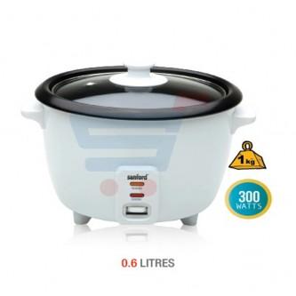 طباخ الارز معدن من سانفورد بسعة 0.6 لتر ، لون ابيض SF1157RC-0.6L BS