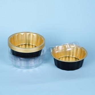 قالب المنيوم دائري  ،للحلا ، اسود ،وذهبي  ،من جواد ،بغطاء شفاف  ،طقم 10حبه