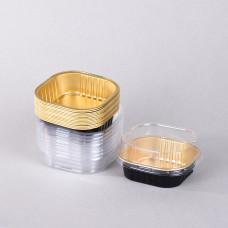 قالب المنيوم مربع للحلا  ،اسود وذهبي ،من جواد  ،بغطاء شفاف ،طقم 9حبات ،300مل