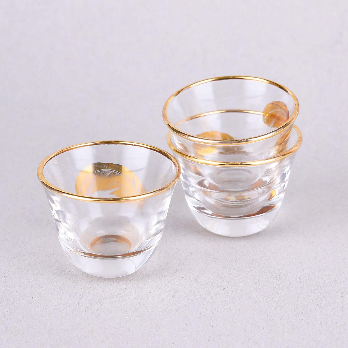 طقم فناجيل زجاج ، العليان 6 قطع ذهبي رقم YA-P-C-6G
