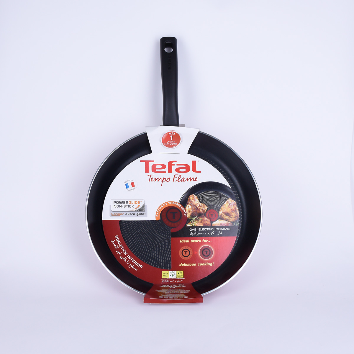 French Tefal Frying Pan Tempo - 28 cm - Red, C5480682 -
