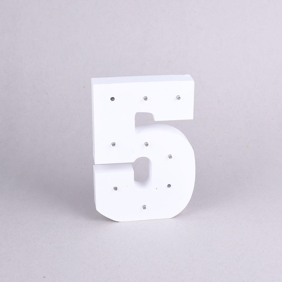 رقم خشبي مضيئ , رقم 5 , NO: YM-15446