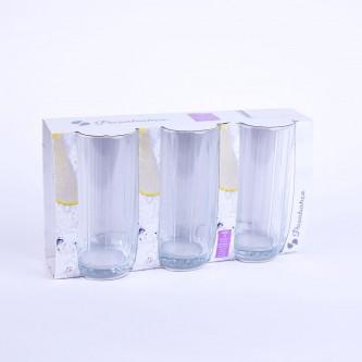 كاسات زجاج طقم فضي ،3حبات  ،42358