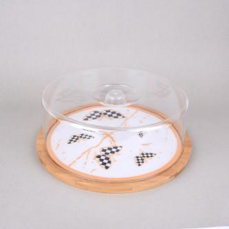طبق تقديم كيك خشبي مربع بغطاء اكليرك، مقاس 35*35 سم، موديل S1815