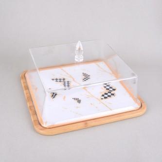 طبق تقديم كيك خشبي مدور بغطاء اكليرك، مقاس 35 سم، موديل S1835
